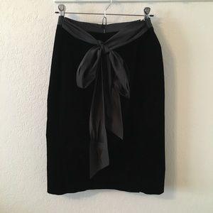 Theory Black Velvet Tie Back Skirt